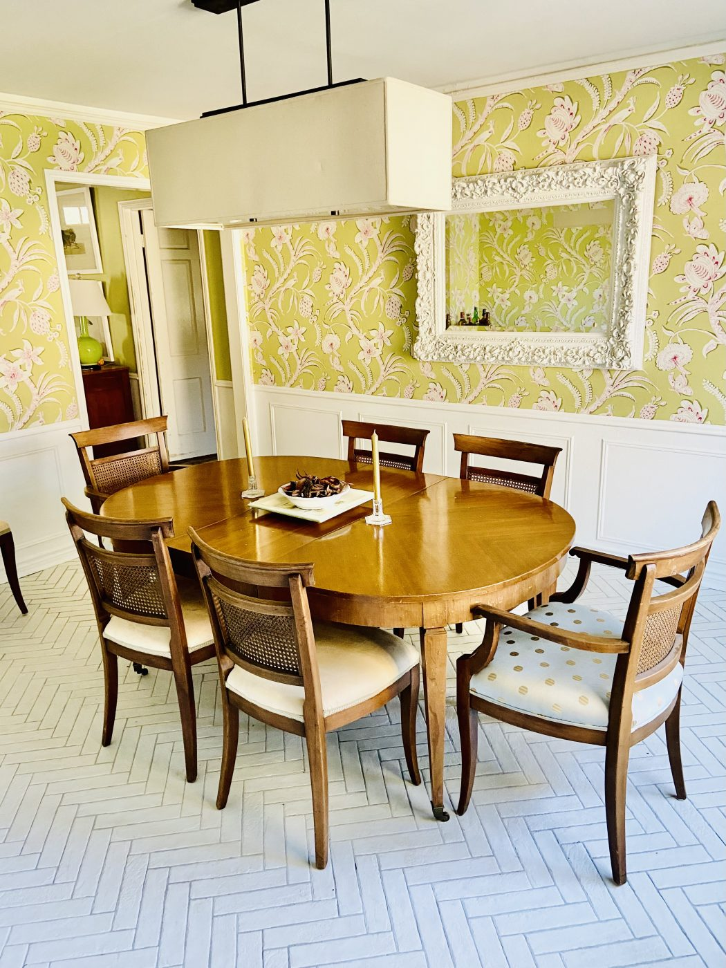 dining room, grandmillenial, herringbone tile floor, wallpaper